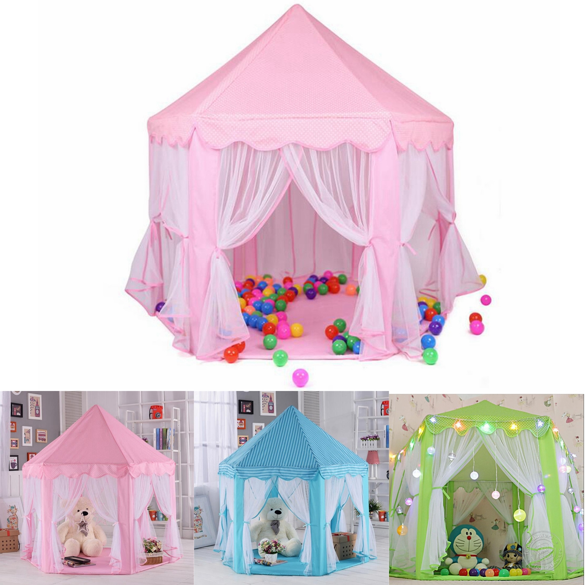 Moaere 55''X53'' Twinkle Star Tabernacle Princess Castle Play Teepee Tent Girls Playhouse Polyester Tipi Perfect Indoor Child Toys