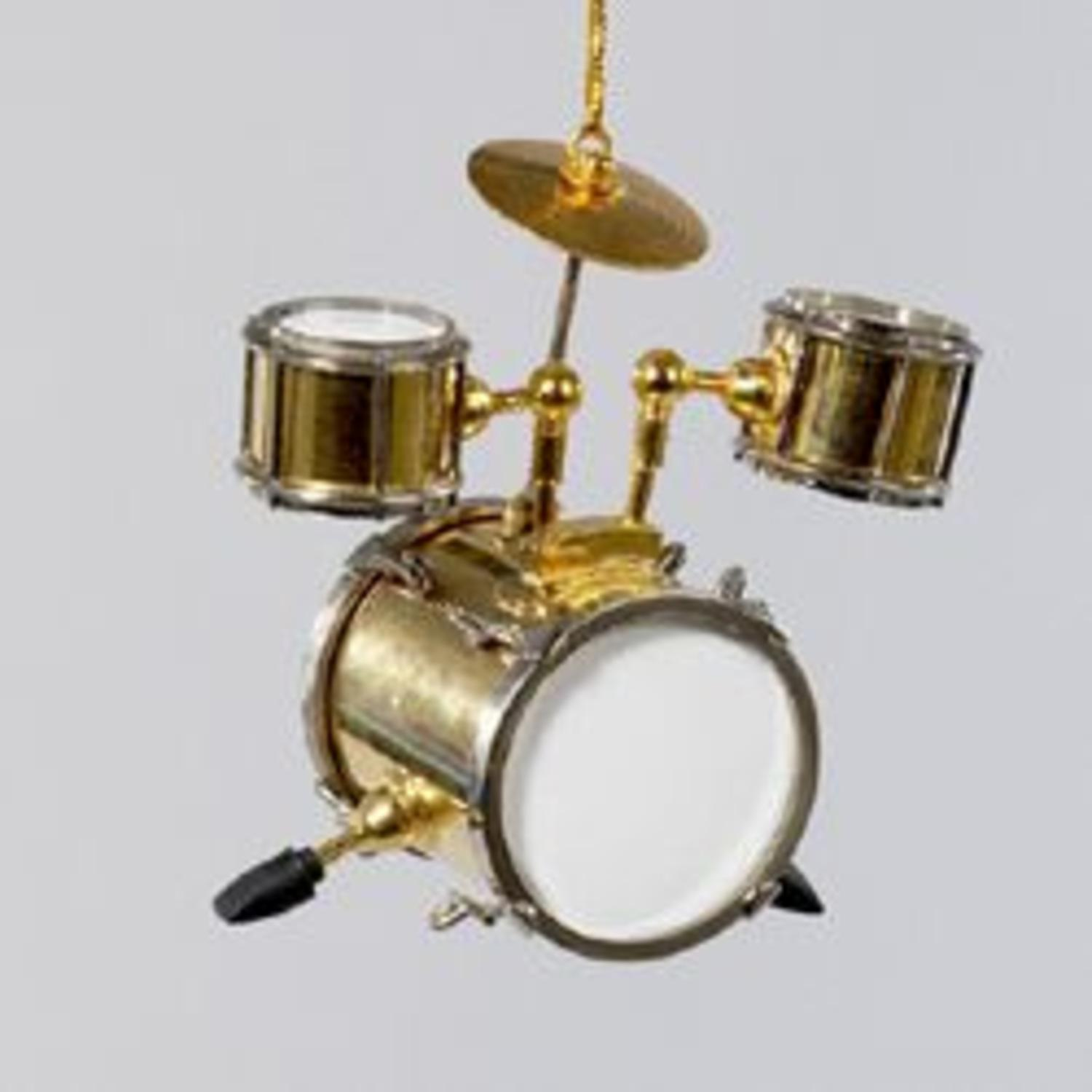 "3"" Shiny Gold Brass and White Drum Set Musical Instrument Christmas Ornament"