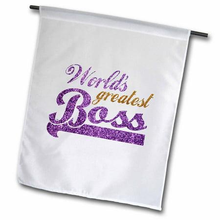 3dRose Worlds Greatest Boss - Best work boss ever - purple and gold text - faux sparkles matte glitter-look - Garden Flag, 12 by