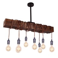 Parrot Uncle Farmhouse Chandelier Lighting 8-Light Beam Wooden Pendant Lamp Candle Style Ceiling Lights,Bronze