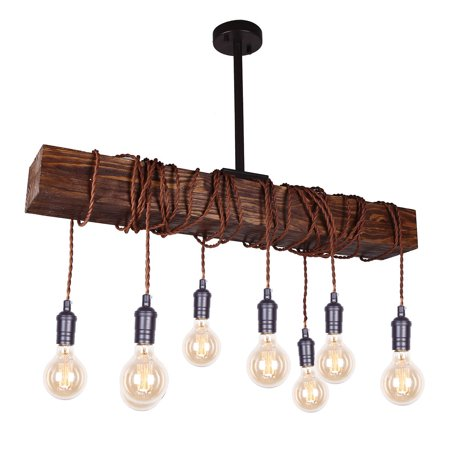 Parrot Uncle Farmhouse Chandelier Lighting 8-Light Beam Wooden Pendant Lamp Candle Style Ceiling