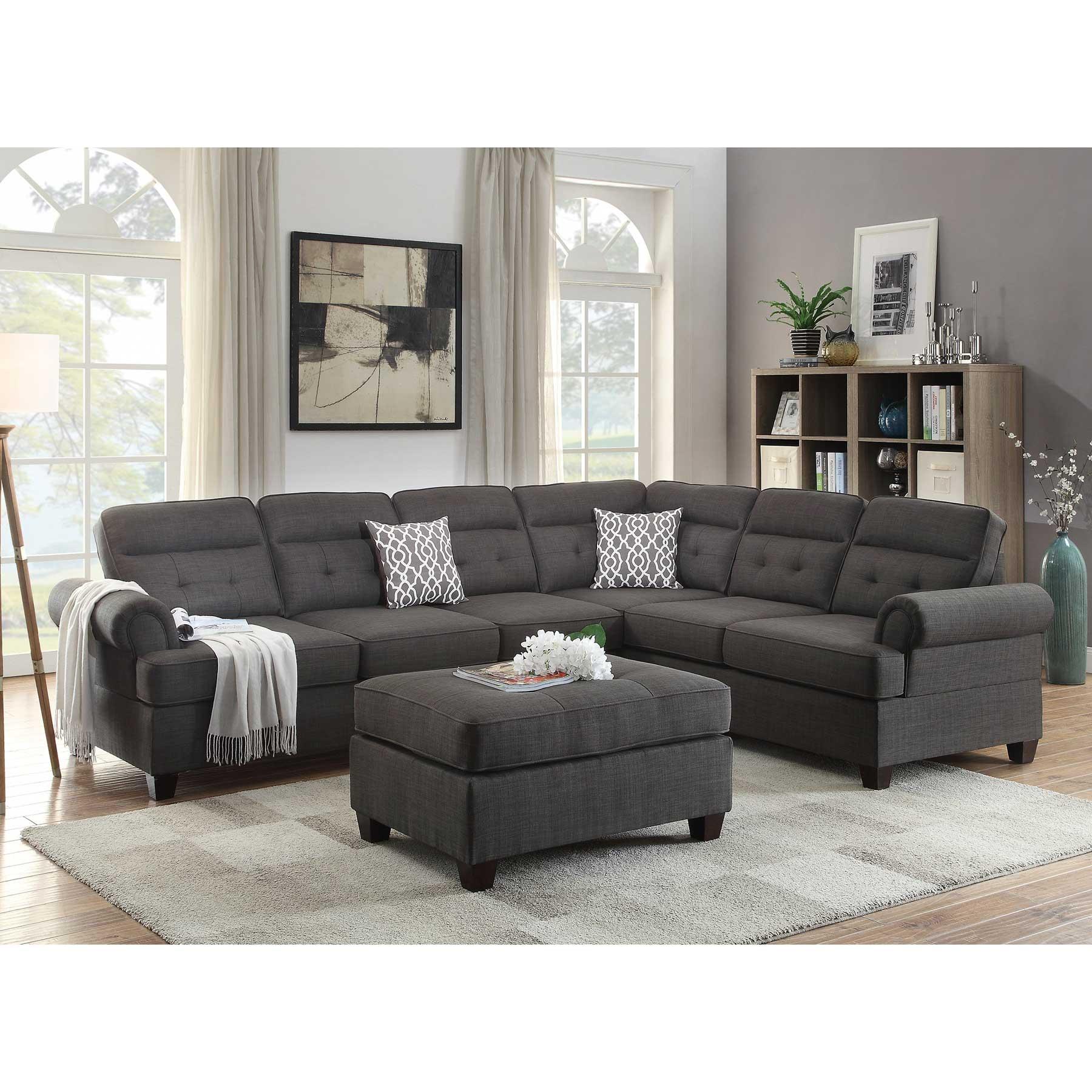 Ash black Dorris Fabric Sectional Sofa