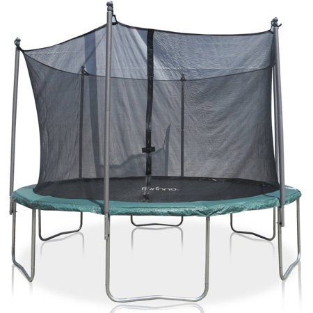 Furinno 12-Foot Trampoline, with Safety Enclosure, Green