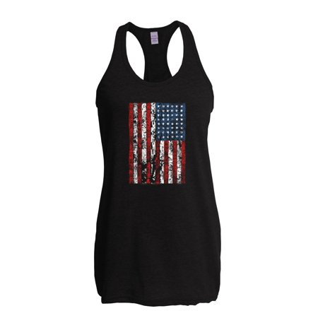 4th of July Flags American Flag Vintage Womens Tops Next Level Racerback Tank Top