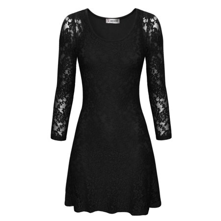 TAM WARE Women Stylish Floral Lace Long Sleeve Scoop Neck Flare Dress ()