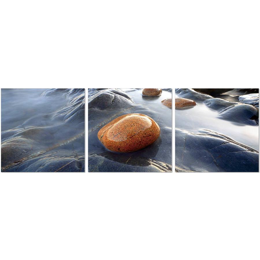 "Furinno SeniA River Stream Rock 3-Panel MDF Framed Photography Triptych Print, 48"" x 16"""