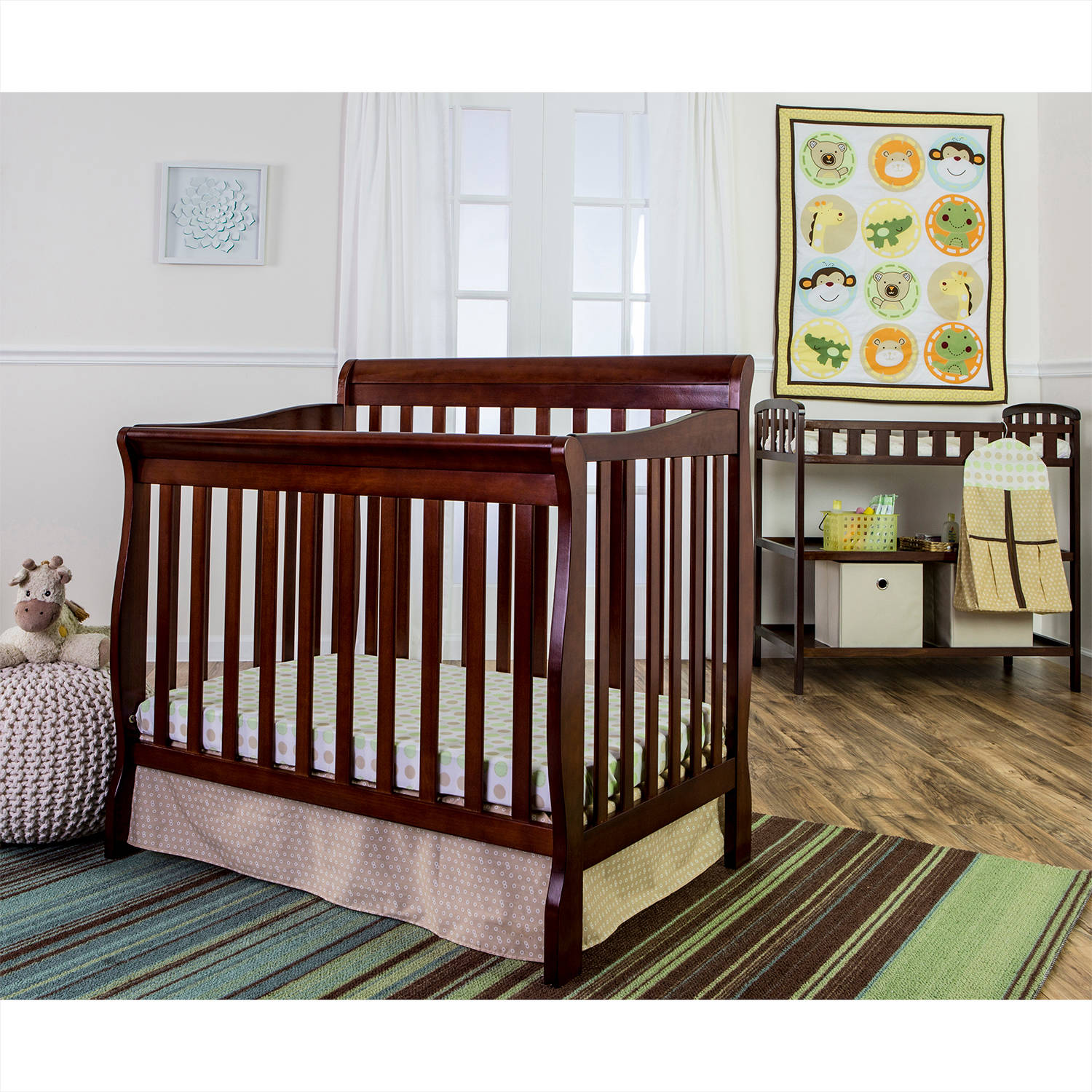 Dream On Me Animal Kingdom 4-Piece Reversible Portable Crib Bedding Set