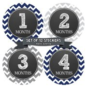 Baby Month Stickers by Months In Motion | 12 Monthly Milestone Stickers for Baby Boy (1032)