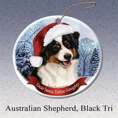 Holiday Pet Gifts Australian Shepherd (Black Tri) Santa Hat Dog Porcelain Christmas Ornament