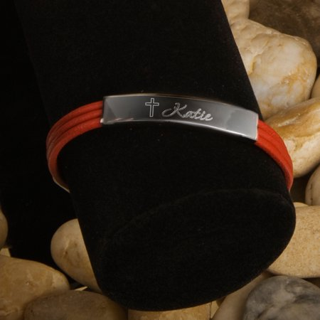 Leather Name Bracelets (Personalized Inspirational Leather Bracelets with Engraved Cross)