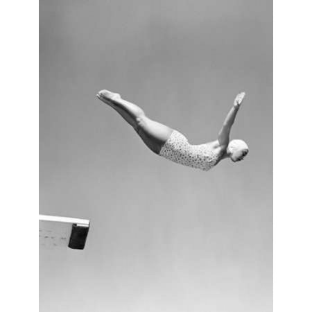 - 1950s Woman Swan Dive Off Diving Board Poster Print by Anonymous