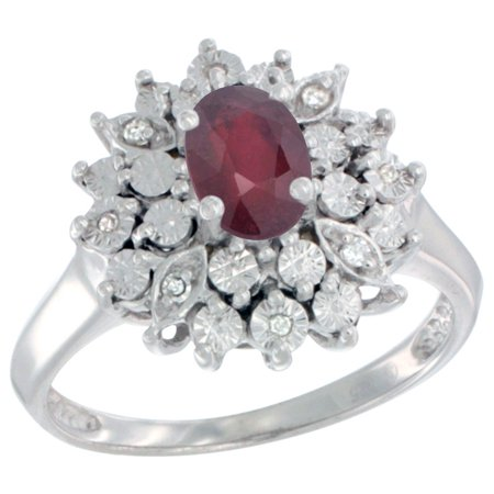 Sterling Silver Natural Enhanced Ruby Ring Oval 6x4, Diamond Accent, sizes 5 - 10 (Ruby Ring Size 6)