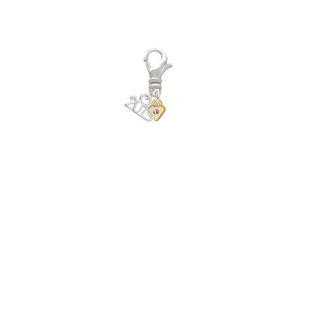 Goldtone Mini Light Purple Crystal Heart - 2019 Clip on - Purple Heart Charm