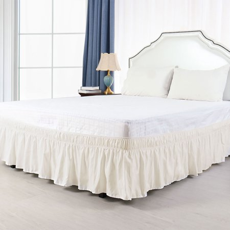 Pleated Bed Skirt Polyester Wrap Around Dust Ruffle Beige King 15 Inch Drop - image 8 de 8