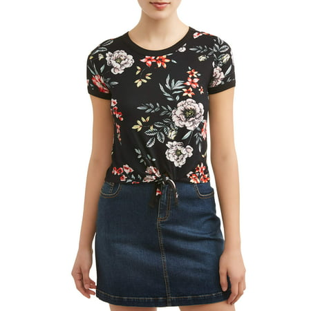 Juniors' Peached Printed Tie Front Ringer T-Shirt ()