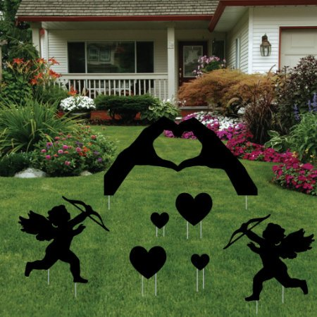 Valentine's Day Yard Decoration - Black Silhouette 'Hand Hearts' with Cherubs