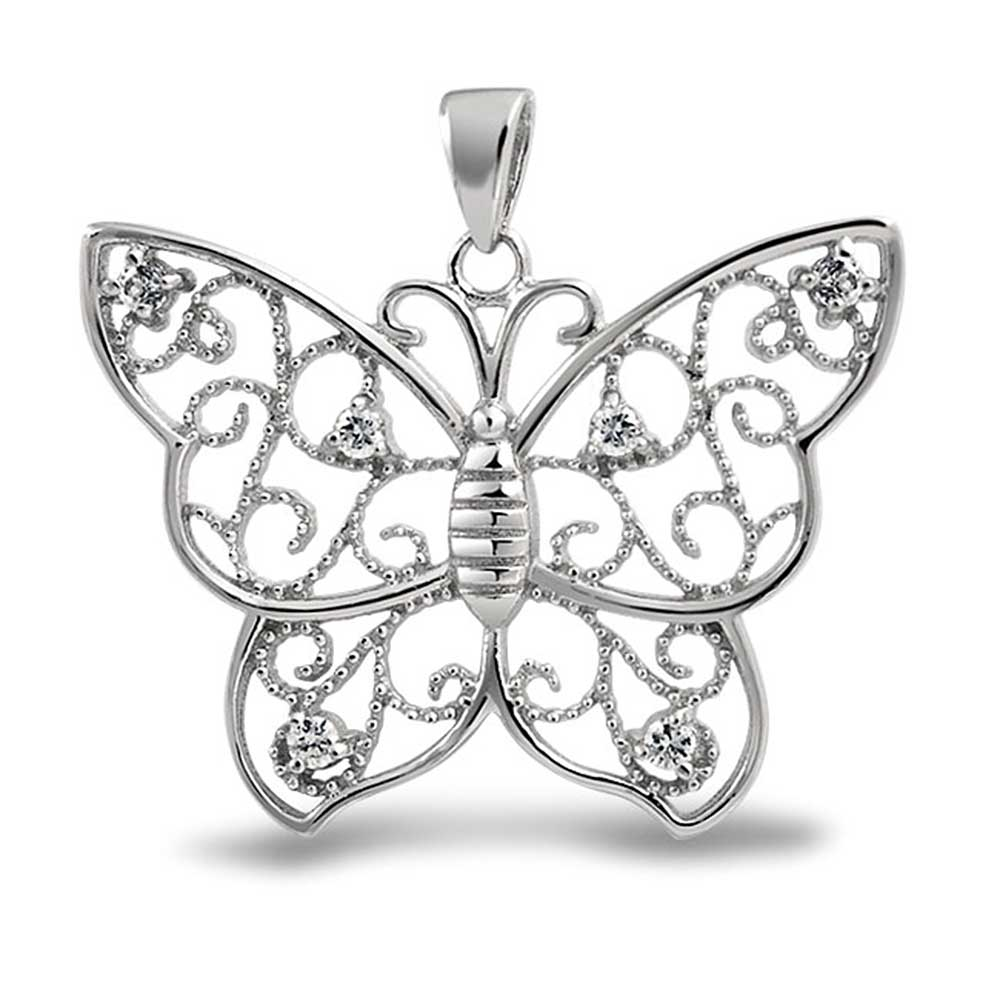 Bling Jewelry Sterling Silver Filigree Butterfly Pendant Cubic Zirconia