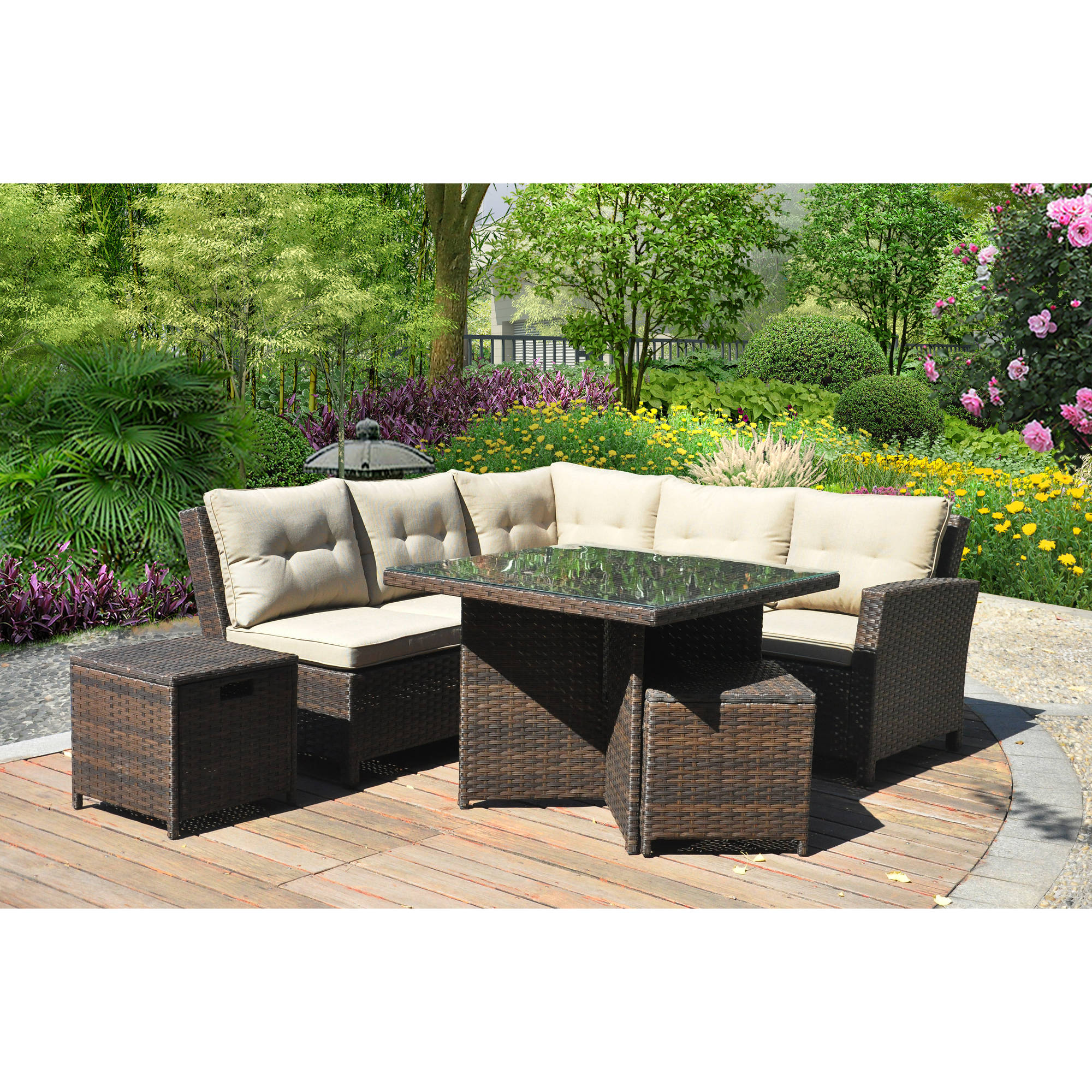 Mainstays Ragan Meadow II 7 Piece Outdoor Sectional Sofa Seats 5