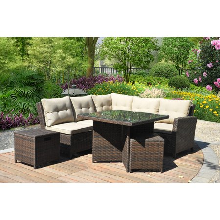 Better homes and gardens baytown 5 piece woven sectional sofa set seats 5 7 better homes and gardens