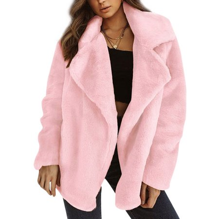 - DBoard Women Autumn Winter Sexy Fuzzy Coat Lapel Collar Long Sleeves Solid Color Outwear