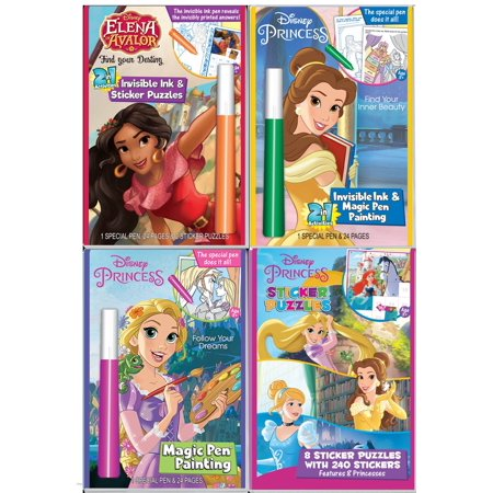 Invisible Ink Books (DISNEY'S Princess Invisible Ink Magic Pen Painting Book, Set for Girls with ZIPPER BAG. Includes 3 Coloring books: Elena Avalor, Tangled, Belle from Beauty and the Beast and 1 Princess)