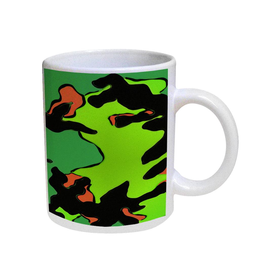 KuzmarK Coffee Cup Mug Pearl Iridescent White - Camoflauge Green Pop