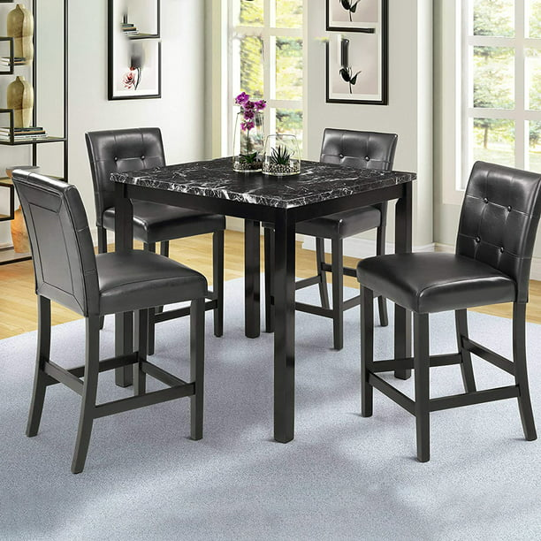 5 Piece Dining Room Table Set, Small Black Dining Table And Chairs