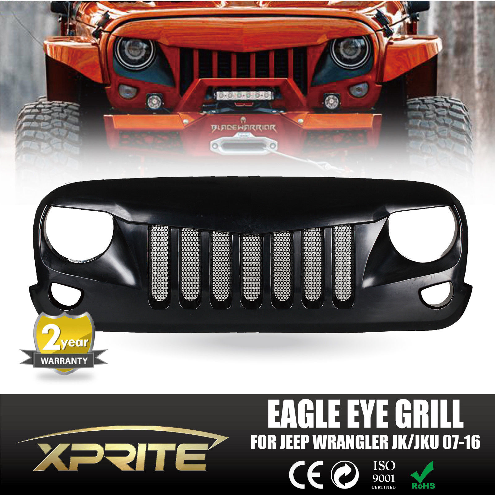 xprite front black eagle eye grill grille with mesh for 2007-2017