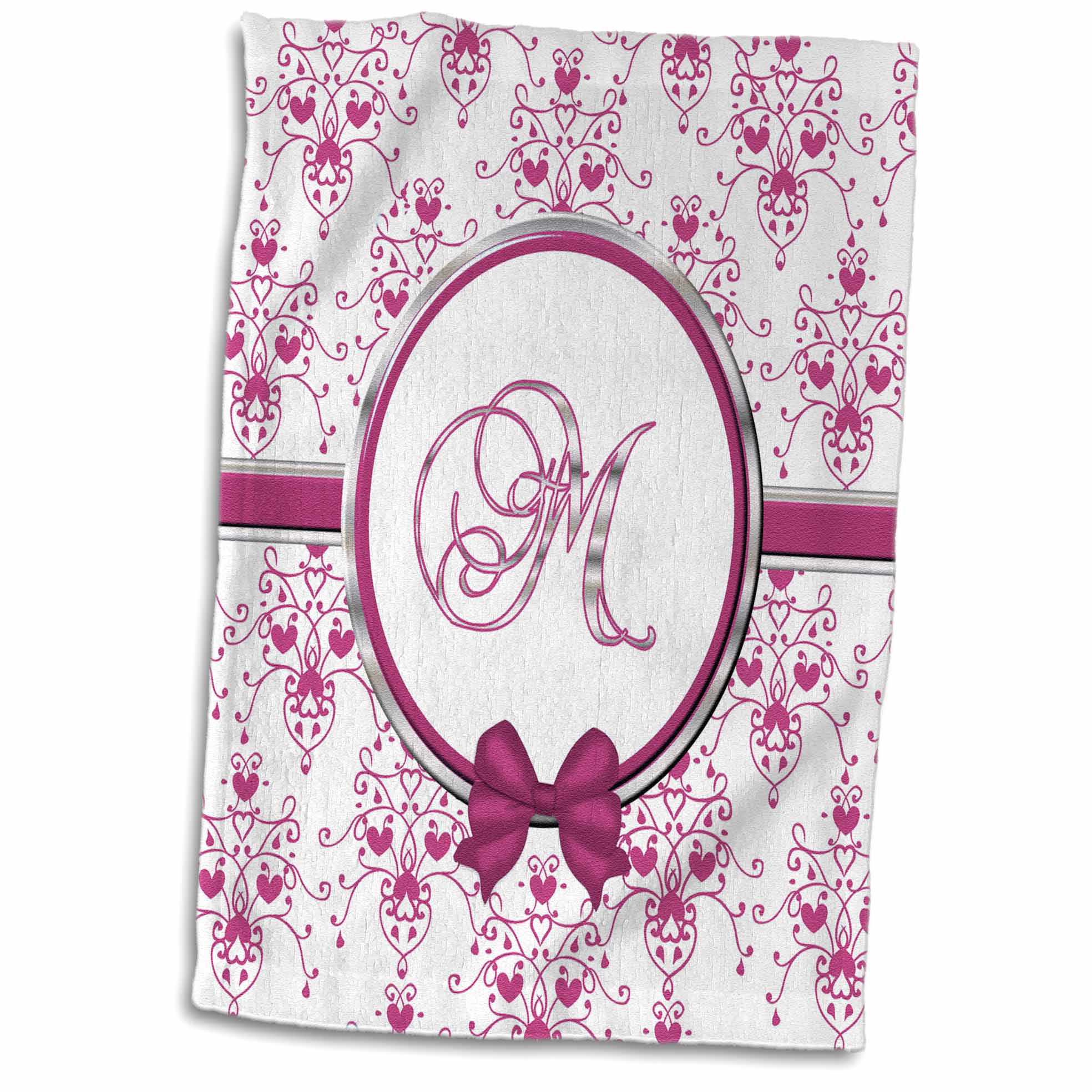 3dRose Elegant Pink and Silver Heart Damask Monogram Letter M - Towel, 15 by 22-inch