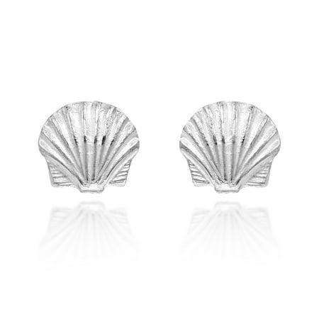 Sterling Silver Scallop Shell (Ocean's Beauty Scallop Sea Shell Sterling Silver Stud)