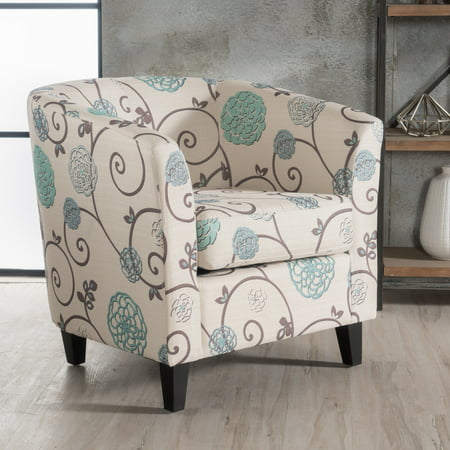 Groovy Noble House Pierson Floral Fabric Club Accent Chair White And Blue Machost Co Dining Chair Design Ideas Machostcouk