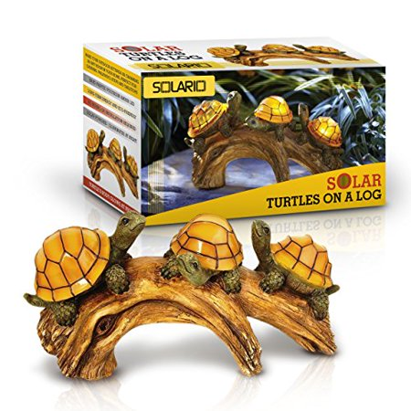 Solar Ed Turtles On Log Decoration Ultra Durable Polyresin Intricate Detailing Wireless Outdoor