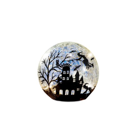 Lit Glass Ball Halloween Witches Silhouette with Bats, Haunted House, Tabletop Decorations, Small (Bat Pics Halloween)