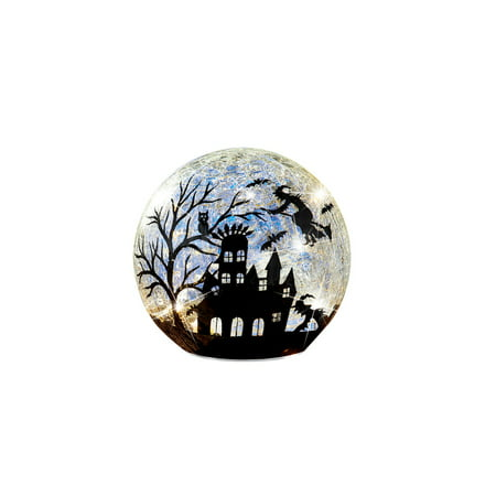 Lit Glass Ball Halloween Witches Silhouette with Bats, Haunted House, Tabletop Decorations, Small - Glass Block Decoration