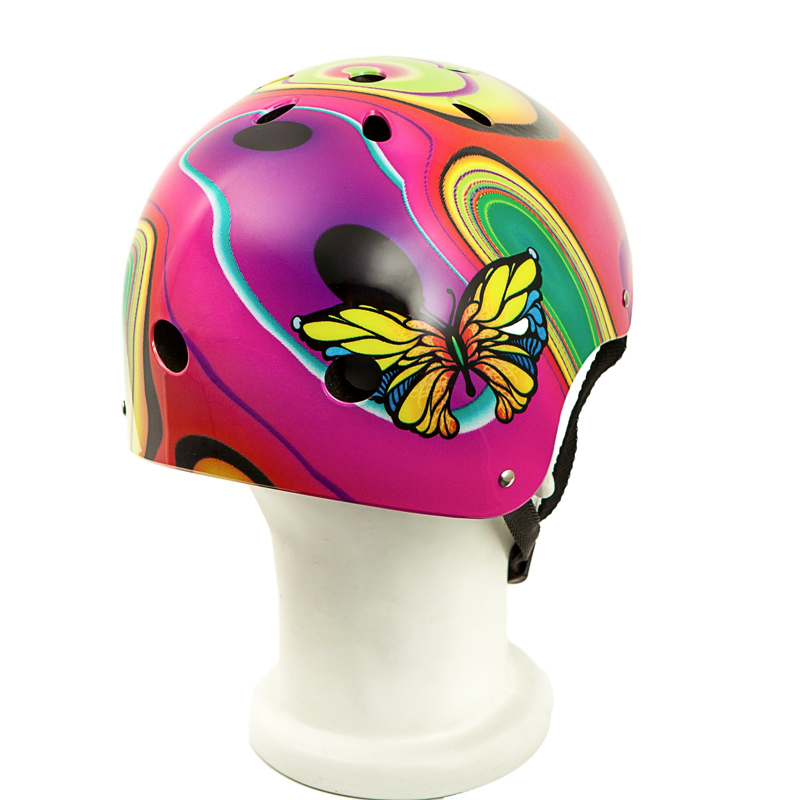 Punisher Skateboards Butterfly Jive Pink and White Adjustable All-Sport Skate-Style Helmet, Medium