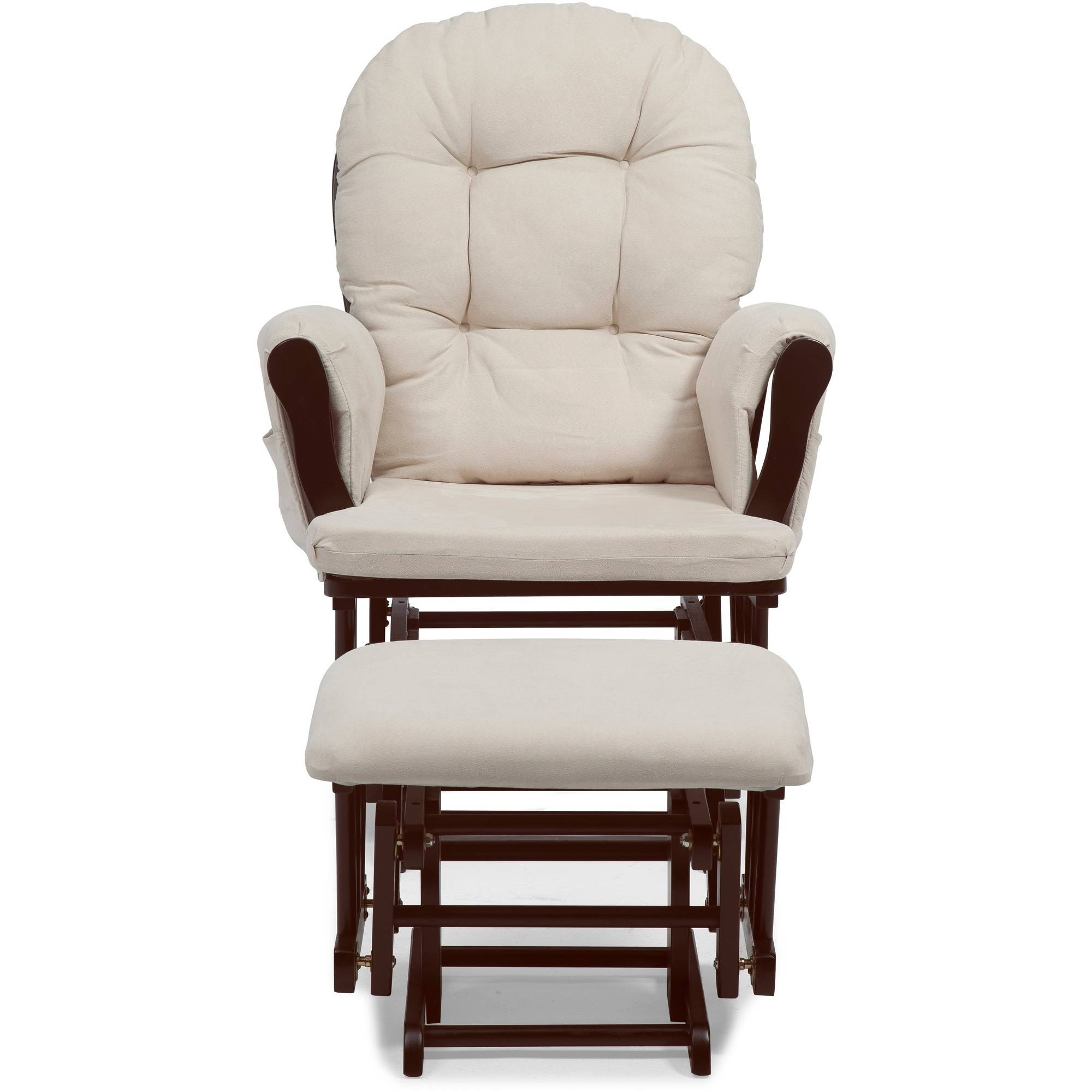 Storkcraft Hoop Glider And Ottoman White With Beige Cushions