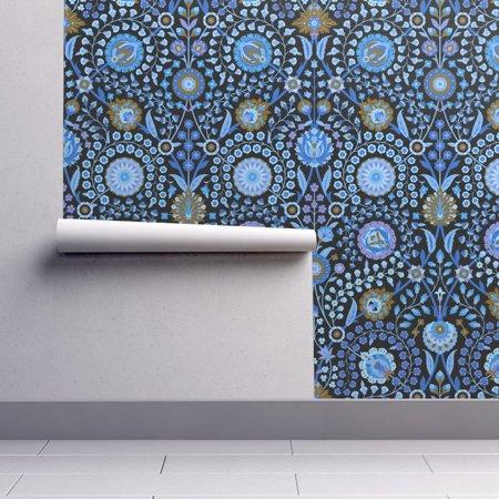 Peel And Stick Removable Wallpaper Blue Floral Damask Renaissance Renaissance