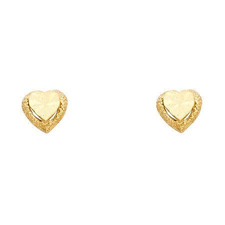 Jewels By Lux 14K Yellow Gold Small Heart Post Womens Stud Earrings 8MM X 8MM