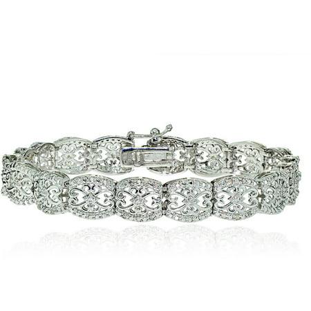 0.25 Carat T.W. Diamond Silver-Tone Filigree Tennis Bracelet ()