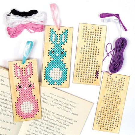 Easter Bunny Wooden Cross Stitch Bookmark Kits For Children To Design And Make Creative Craft Set For Kids Pack Of 4 Hop Along And Decorate These