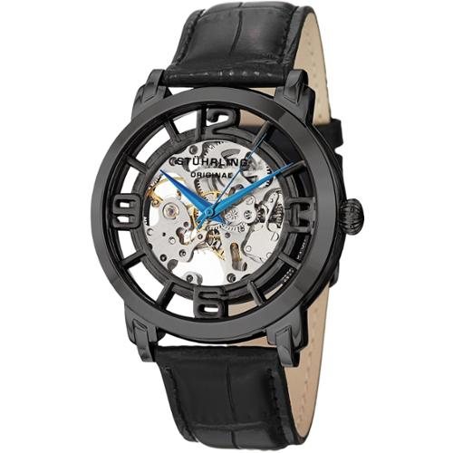 Stuhrling Original Men's Winchester 44 Skeleton Automatic Leather Strap Watch Silvertone/Black strap