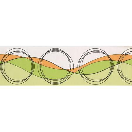 Chesapeake Wallcoverings Circles Wave Design 15' L x 7'' W Wallpaper Border