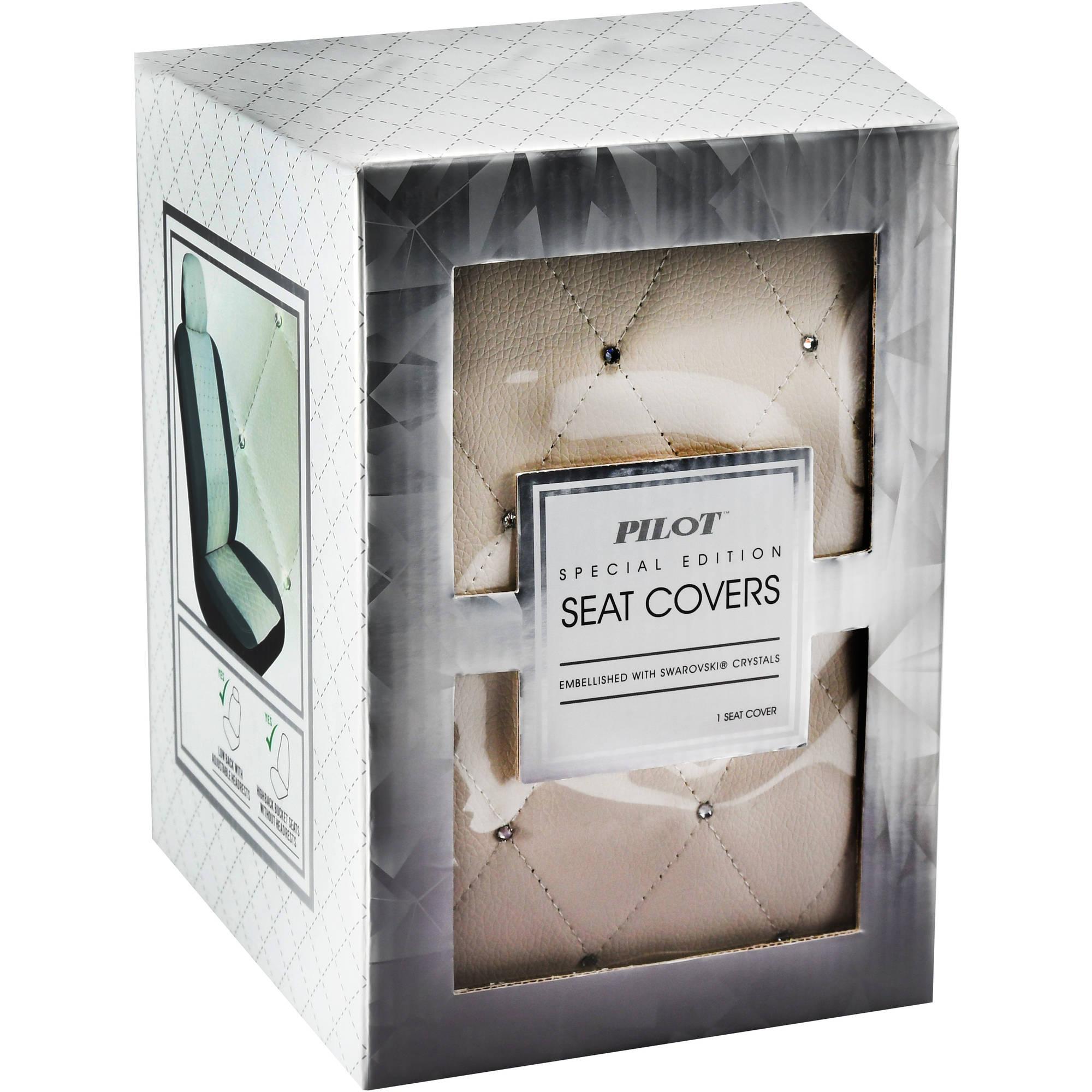 Premium Diamond Seat Cover with Crystals from Swarovski, White
