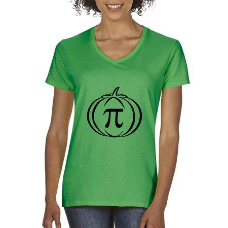 Trendy USA 974 - Women's V-Neck T-Shirt Pumpkin Pi Pie Math Halloween Funny Humor XL Kelly Green - Halloween Usa Promo