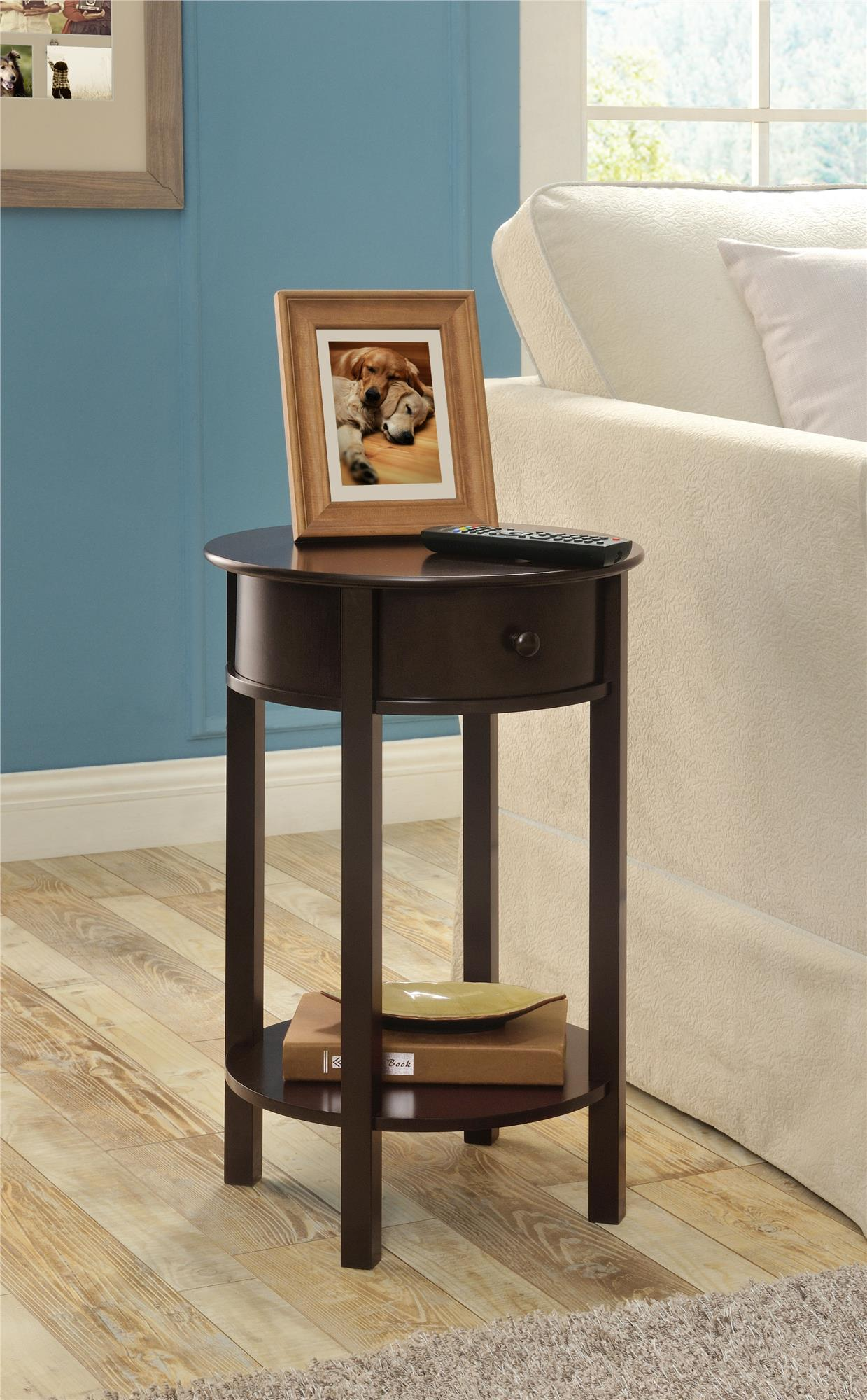 Ameriwood Home Round End Table Espresso