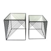 Sagebrook Home 2 Piece Metal & Glass End Table Set