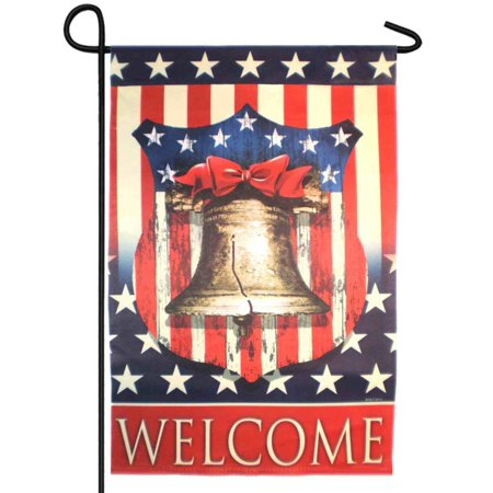 Evergreen Welcome Liberty Bell Patriotic Fabric Garden Flag 18 by 12 Inch ()
