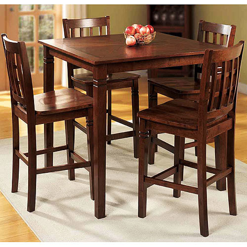 Counter Height 5-Piece Dining Set, Walnut Finish