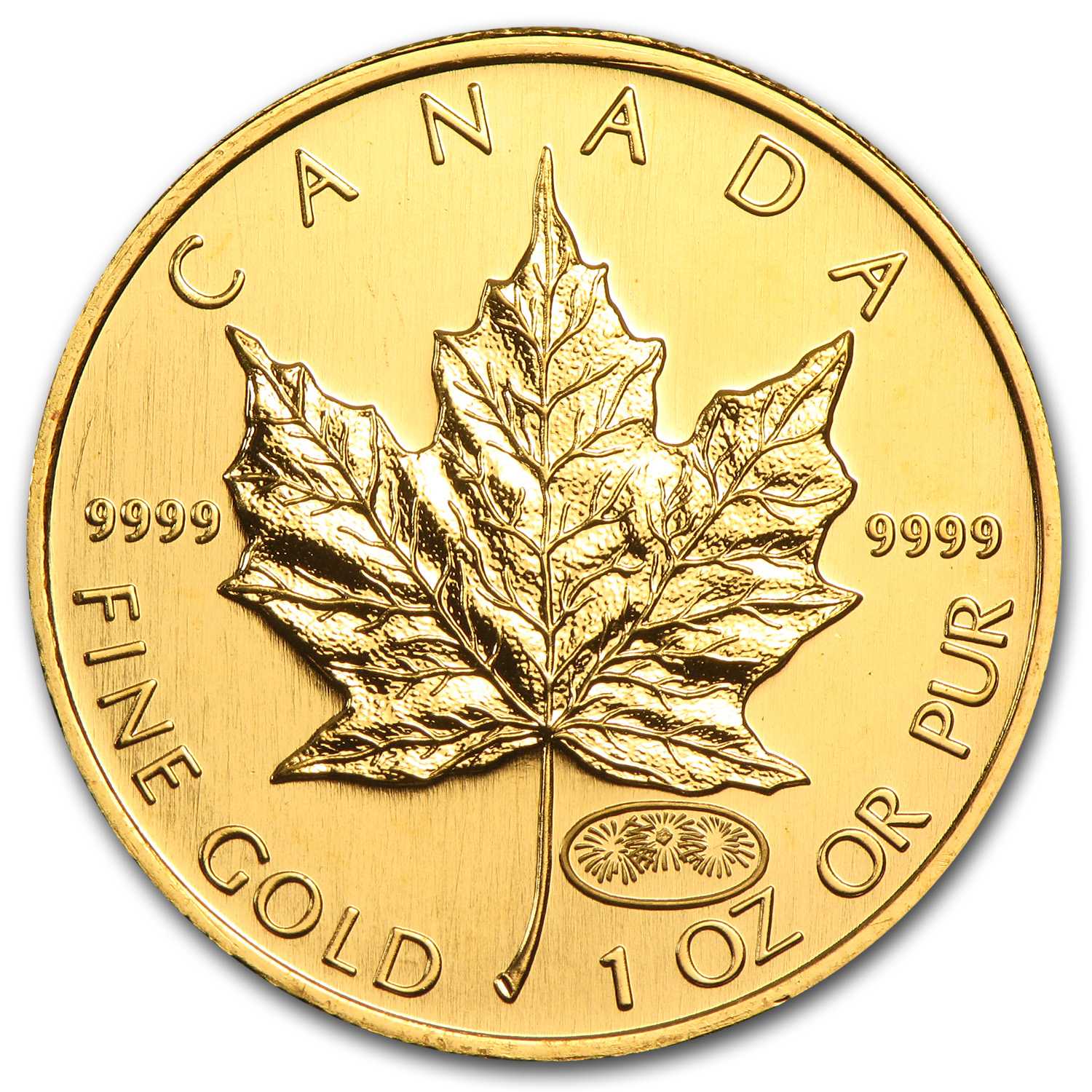 1999/2000 Canada 1 oz Gold Maple Leaf Fireworks Privy BU