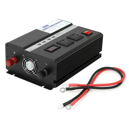 1000W Car Power Inverter 12VDC to 2 110VAC US Sockets 5VDC 2.4A USB Ports